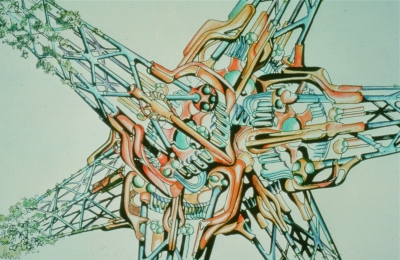 Biomorphic Biosphere: Computerized Building Machine Extruding Compression Structure with Plant Growth, 1973, color pencil over photo.