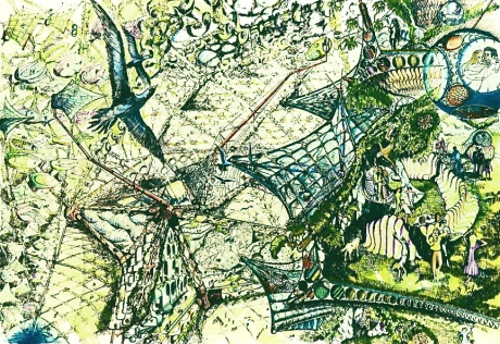 Biomorphic Biosphere: Walkway Looking Into Interior Column with Compression Member Below. Entrance to Flying Houses and Street Inflatable Furniture. Utilities in Walkbed and Transport Modular Slung from Below Walkway, 1977