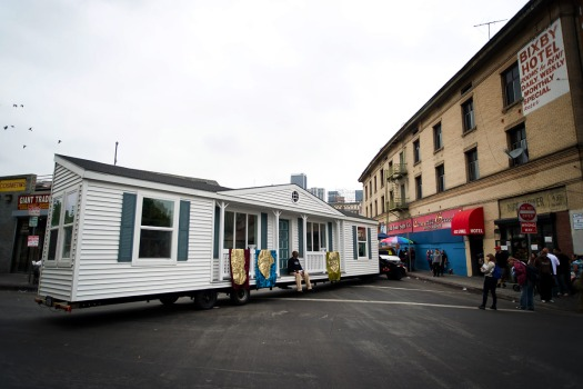 Mike Kelley's Mobile Homestead arrived in Los Angeles on Saturday, May 24, 2014 to participate in Walk the Talk 2014, the biennial Skid Row parade presented by the Los Angeles Poverty Department (LAPD) that celebrates the vibrant Skid Row community and the visionary initiatives of the residents. Photo: Ruben Diaz.