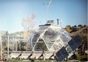 The last bio-dome designed by Buckminster Fuller, completed at the Windstar Foundation, Snowmass, Colorado, 1983.